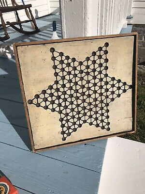 Antique Wooden Star Original American Folk Art New England Painted Game Board