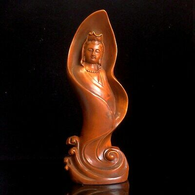 Collect China Old Boxwood Hand-Carved Kwan-yin Auspicious Noble Delicate Statue
