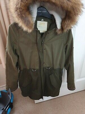 Excellent Condition Girls Khaki Green Hooded Coat Age 12 Years