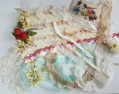 Antique VTG Lot Lace Trim Post Card  Bits&Pieces Postcard Doily Millinery Fabric