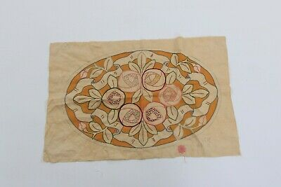 Vintage antique arts and crafts period floral embroidered panel