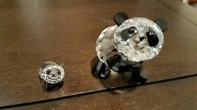 Swarovski Crystal Mother Panda and Baby Panda 7611 Mint Condition