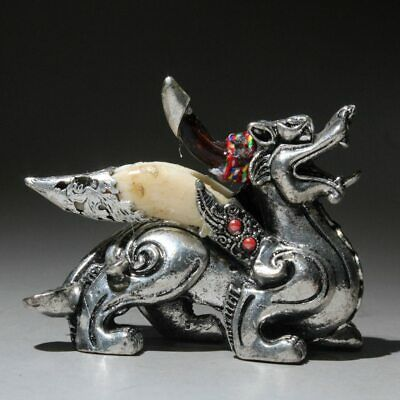 Collectable Old Tibet Silver Handwork Carve Vivid Kirin Auspicious Unique Statue