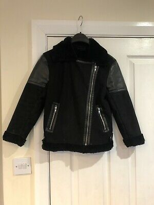 Girls Next Black Faux Fur Suede Leather Coat Age 9