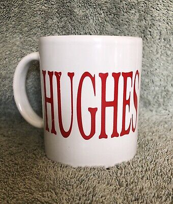 "HUGHES CENTER COFFEE MUG White with Red Lettering 3 1/2"": Tall EUC"