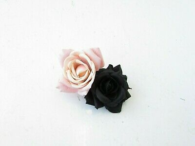 Double Black Nude Blush Light Pink Rose Flower Hair Clip Floral Fascinator 0419