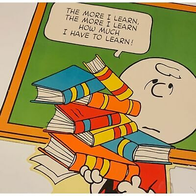Vintage Peanuts Charlie Brown Poster Heavy Board 20x28 Hallmark Store Display