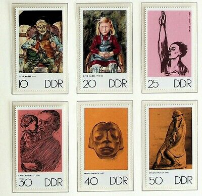 GERMANY DDR 1970 ART/ PAINTING/ DRAWING BY VARIOUS ARTIST MIXED 6v MINT STAMPS