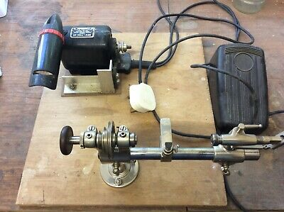 Small Size Vintage Watch Makers/ Repairers / Hobbyist Lathe With Motor And Foot