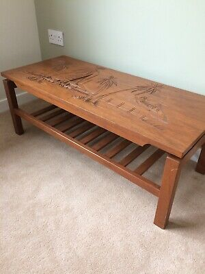 Wooden Oriental Carved Top Coffee Table + Matching Side Tables + Standard Lamp