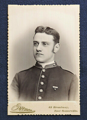 Private, 8th Mass. Volunteer Militia Co. 'M' Wearing A Badge - Cabinet Photo