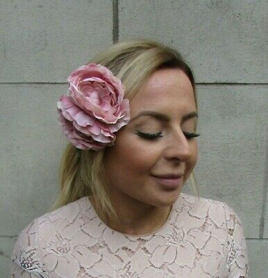 1940s Style Double Dusky Pink Peony Flower Hair Clip Floral Fascinator Rose 0424