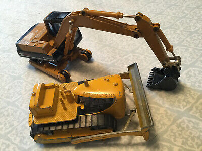 2 Metal Dye Cast Toys  Tractor And Back Hoe 1980