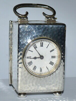 Antique Hallmarked Sterling Miniature Carriage Clock Mojon & Co. London c.1911