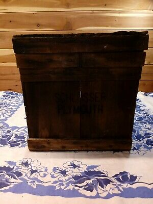 VTG Wooden Shipping Crate Box W/ Lid  Schlosser Plymouth Dairy Rustic Farm Decor