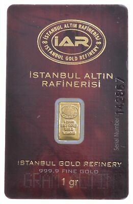 1 Gram 999.9 Fine Gold Bar - Istanbul Gold Refinery Gold Coin *417