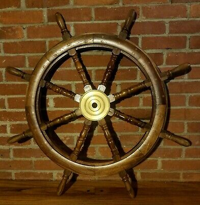 "VINTAGE~ 8 Spoke 36"" Wood and Brass Nautical Captain's Ship Wheel"