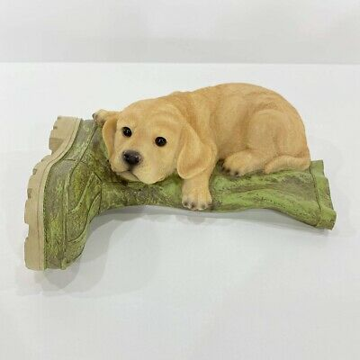 """Labrador Retriever Laying on Boot Resin Figurine Statue 11"""" Puppy Dog Realistic"""