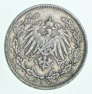 SILVER Roughly the Size of a Dime 1906 Germany 1/2 Mark World Silver Coin *721
