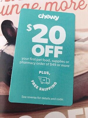 CHEWY.com Coupon $20 Off First Order of $49+ w/no shipping expires 8-31-20