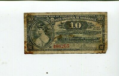 Nicaragua 10 Cents 1938 Vg Nr 8.95