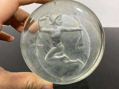 Vintage Zodiac Horoscope Sagittarius Art Glass Sculpture Paperweight