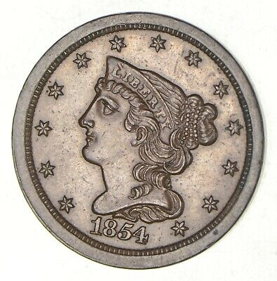 1854 Braided Hair Half Cent *2853