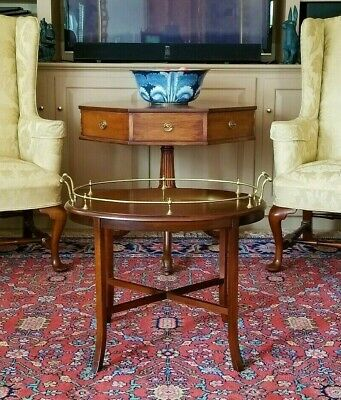 Williamsburg Style Mahogany & Brass Low English Gallery Tea / Side Table