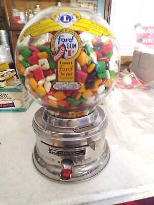 Vintage 1950'S Ford 1 Cent Gumball Vending With Original Ford Gum