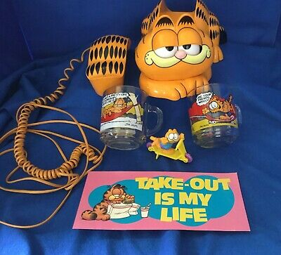 Lot Garfield Collectibles Phone Working 2 Mugs ,Figure, Paper Sign Vintage Euc
