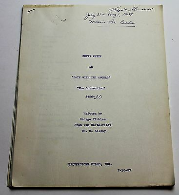 DATE WITH THE ANGELS / 1957 Original TV Show Script, Betty White, Comedy Series