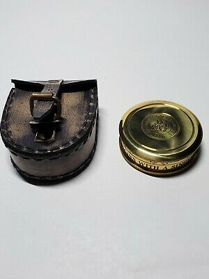 Brass Nautical Compass with Leather case, Antique Marine Pocket Compass 1920
