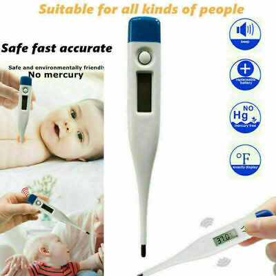 Digital LCD Fever Thermometer Medical Oral Adults Kids Baby Body Mouth Safe