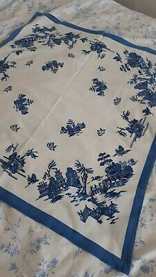 Vintage Cotton Blue & White Willow Pattern Tablecloth. Used.