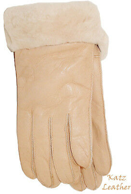 NEW Womens Warm Beige Winter Sheepskin Shearling Gloves Real Leather S-M
