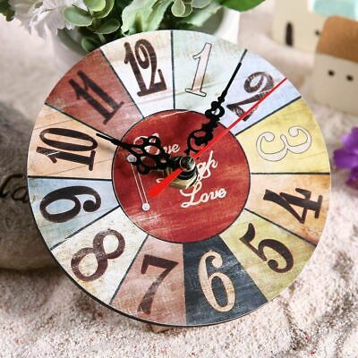 Retro Vintage Wooden Wall Clock Shabby Chic Rustic Home Antique Decor Gift New