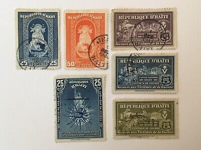 old stamps HAITI   x 6