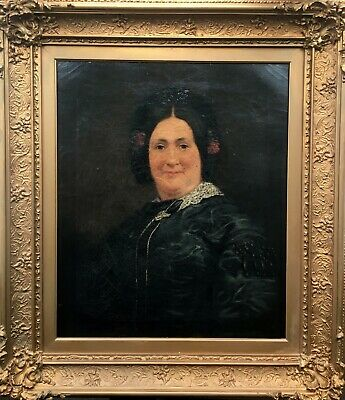 Original Antique 19th Century Oil Painting & Frame Portrait of an English Lady