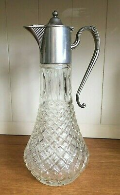 Old Vintage - Silver Plated - Glass Claret Wine Jug Decanter - Victorian Style