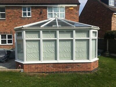 Large Anglian Conservatory White uPVC Glass Roof includes blinds & flooring