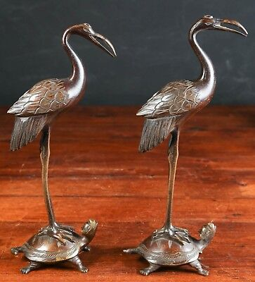 Fine Old Pair of China Chinese Bronze Cranes Standing on Turtles ca 20th century