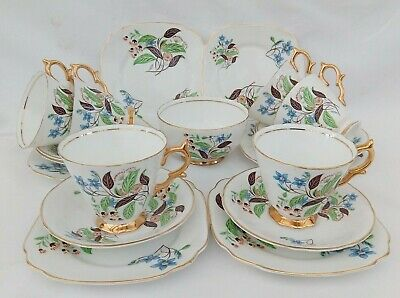 Beautiful Vintage Lubern Bone China 19 piece Teaset with 22 kt Gold highlights