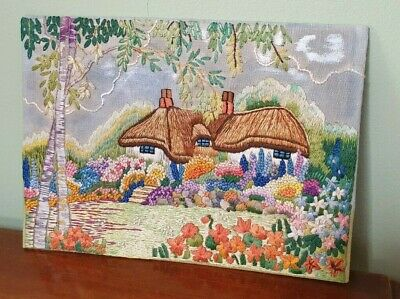 Vintage hand embroidered thatched cottage and flower garden picture panel