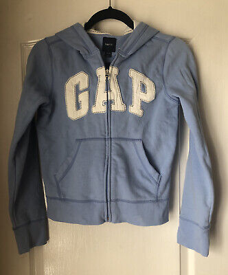 Gap Kids Girls Logo Zip Up Hoodie Jumper Blue & White Age 12-13 Years