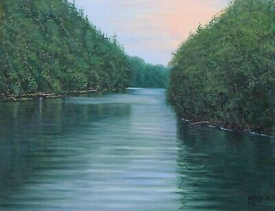 Frase Original Oil Painting Tahquamenon River Landscape Michigan Nature Art O/C