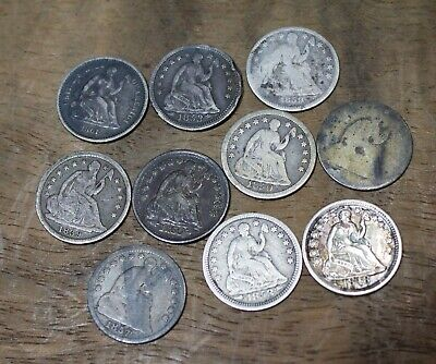 1836 Thru 1861 Liberty Seated Half Dimes Lot Of 10 Assorted Silver US Coins