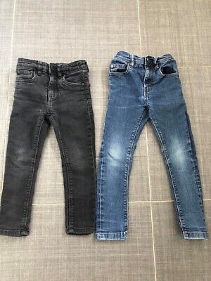 Next - 2 Pairs Of Boys Skinny Jeans One Black And One Blue Stonewash Age 4 Years