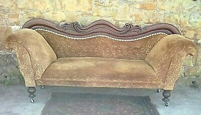 Beautiful Antique Chaise Longue Style/Mahogany Part Show Frame Gold Settee