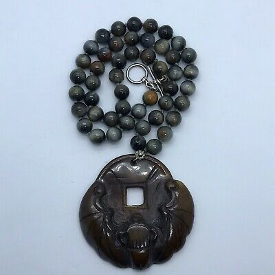 Brown Jade Bat With Coin Chinese Pendant Silver Clasp