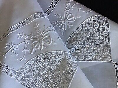 Exquisite Antique Linen Tablecloth~ Drawn Thread Work/Hand Embroidered Whitework